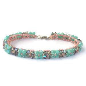 Jewelry - Mint Green & Pink Woven Crystal Bracelet